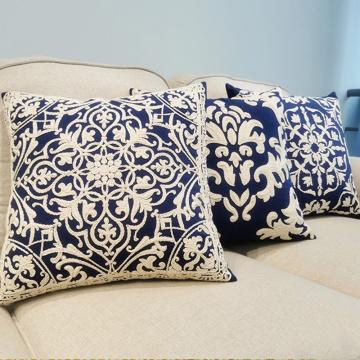 Capa de almofada bordada corda algodão decoração de casa