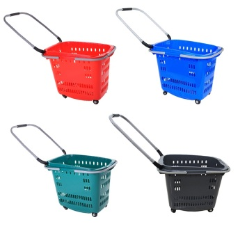 Custom Color plastic shopping basket with 4 wheels