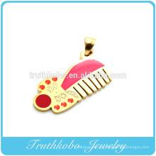 Vácuo de revestimento de ouro 2014 moda hotsales barbeiro pente forma colorido esmalte pingente de colar de aço inoxidável