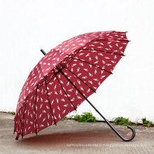 Parapluie droit manuel à impression ouverte (BD-36)
