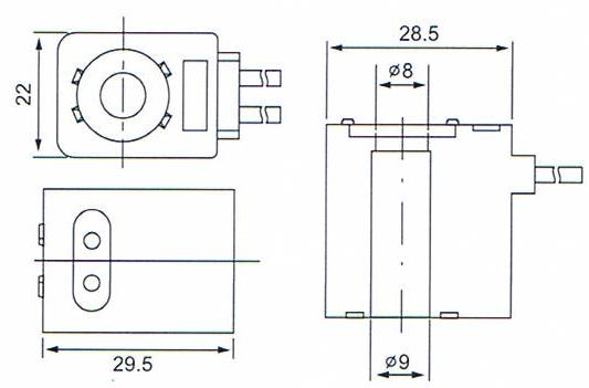 Overall dimension of DC24Voltage IP65 Pneumatic Solenoid Valve Coils