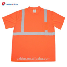 Outdoor Road Work Hi Vis Reflective Custom Safety t shirts Wholesale Class 2 Construction Crew Neck High Visibility t-shirt
