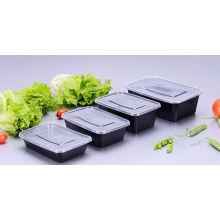 Envase de comida plástico disponible rectangular microonda de 650ml con la tapa