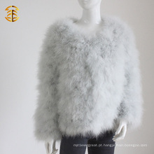 Lovely Fur Turkey Feather Coat Roupa de pele de pena curta para mulheres