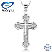 2015 fashion jewelries wholesale cross pendant in top quality 925 silver low price fast delivery