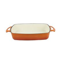Cookware retangular profundo da bandeja de cozimento do ferro fundido do esmalte do prato