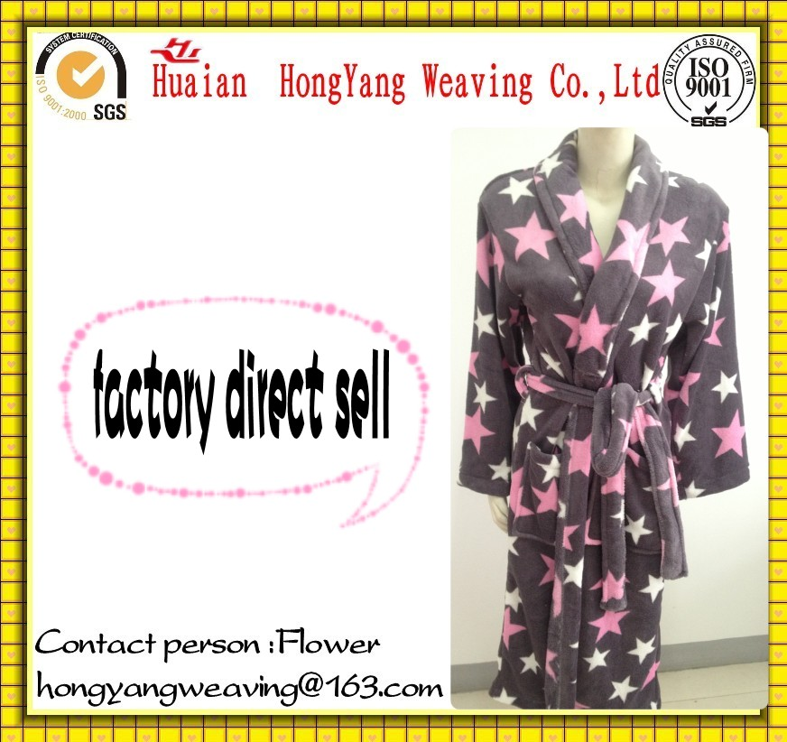 100% Polyester coral fleece print custom bathrobe for men