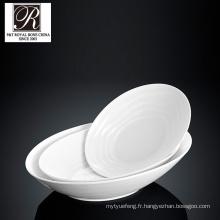 Hôtel ligne de l'océan mode élégance cuvette à porcelaine blanche à soupe ronde PT-T0593