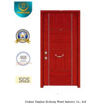 Porta de aço de segurança vermelho marrom Simplestyle (t-1010)