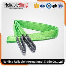 Polyester Flat Eye Type 2 tonnes ceinture de levage industrielle verte