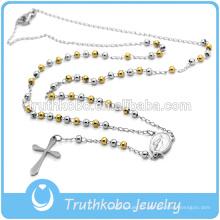 Лучшие продажи высокое качество католическая религиозные ювелирные изделия мода из нержавеющей стали мужские два тона золото четки ожерелье из бисера