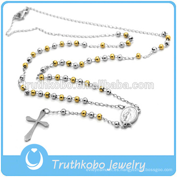 Mejor venta de alta calidad de joyería religiosa católica moda acero inoxidable para hombre dos tonos oro rosario collar de cuentas