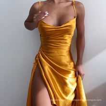 European and American Summer New Satin Side Fork Halter Dress Dress Sexy Pure Color Slim Body Show Bust Dress