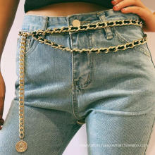 Ancient Sexy Fashion Multilayer Body Chain Personality Geometric Portrait Chain Flannel Waist Chain