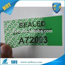 Sello de alta seguridad especial impreso personalizado, etiqueta engomada vacía abierta para el empaquetado