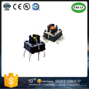 Interruptor de contacto SMD con LED, interruptor táctil pequeño con LED, con luz de la lámpara Interruptor táctil 6 * 6 mm Conectores de pie recto con interruptor táctil de luz de la lámpara