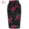 Grace Karin Occidente Mujeres Hips-Wrapped Vintage retro algodón impreso lápiz falda CL008928-10