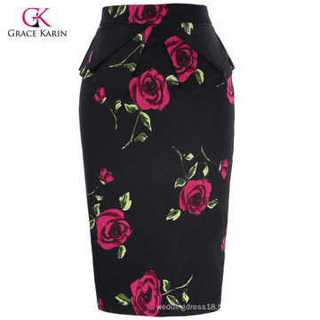 Grace Karin Occident Women's Hips-Wrapped Vintage Retro Cotton Printed Pencil Skirt CL008928-10