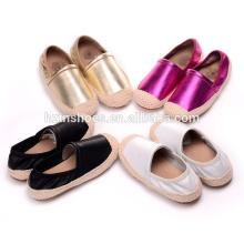 Moda casual sapatos meninas miúdos plana sapatos sola de juta