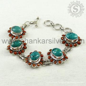 Great combination girls bracelet multi gemstone jewellery 925 sterling silver bracelet online silver jewelry supplier