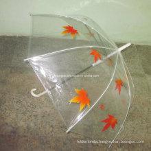 Printed Maple Leaf Transparent Poe Fabric Umbrella (YSPOE0002)