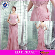 ED-YH2447 OEM Wholesale Price Peach Color Beaded Pleated Designer Dress