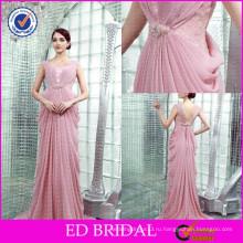 ЭД-YH2447 OEM Оптовая цена персикового цвета бисера Плиссированные платье дизайнер
