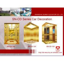 Cabine de elevador com espelho dourado e moldura (SN-122)