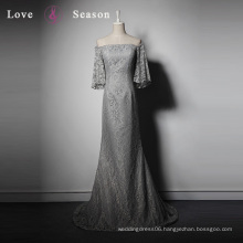 LSQ058 Light gray half sleeves natural waist with train new lace mermaid prom evening dress