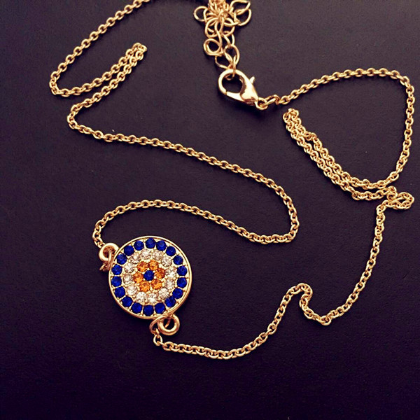 Crystal Alloy Evil Eye Collar Necklace