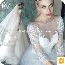 Deep V Neck Custom Make Long Sleeve Formal Bridal Gown Ivory Wedding Dresses