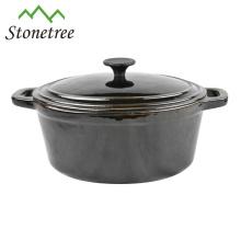 Casseroles à ragoût en fonte à revêtement noir / grandes casseroles de cuisson / cocottes