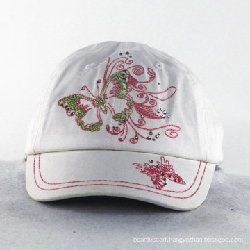 Butterfly Embroidery with Shining Stone Girls Kids Caps