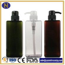 Botella de 650ml cuerpo cuidado plástico cuadrado con bomba