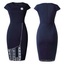Short Sleeve Office Women Lacey Pencil Midi Dresses