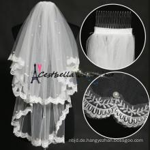 2016 Großhandel Perlen billig 2 Schichten kurze Hochzeit Schleier