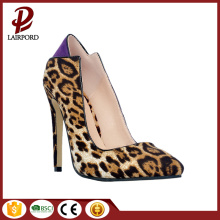 leopard print genuine leather stiletto heel shoes