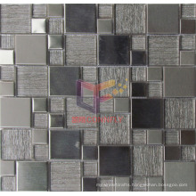Wallpaper Backed Glass Mix Stainless Steel Mosaic Tile (CFM861)
