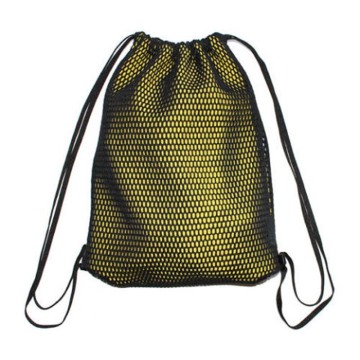 Nylon Drawstring Mesh Bags with Front Zipper Pocket