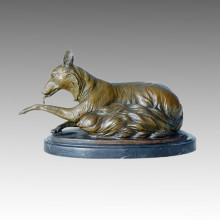 Animal Statue Fox Sitting Bronze Sculpture Tpal-097