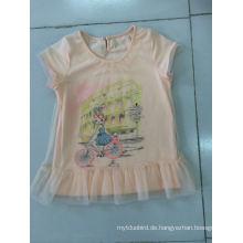 Schönes Baby T-Shirt Kleid in Kinderkleidung mit Netzstoff (SGT-002)