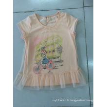 Belle robe de t-shirt de bébé dans les vêtements d'enfants avec tissu net (SGT-002)