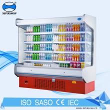 Refrigerador de exhibición de supermercado comercial de refrigeración por ventilador