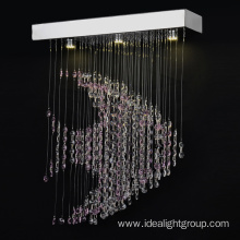 luxury revolving chandelier crystal pendant light chrome