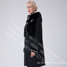 Australien Merino Shearling Coat With Mink Flower Lady