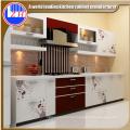 Moderno lustroso branco lustroso flat pack fibra de cozinha com pedras de bancada