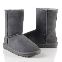 Gray Classic Cowhide Wool Mid-Calf Flat Snow Boots