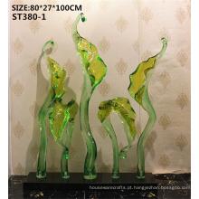 Popular flor tema grande imitação jade resina artesanato chão jardim polerain estátua