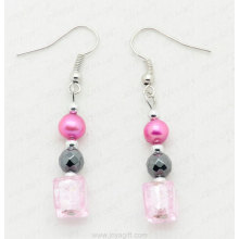 hematite lampwork glass beads earring
