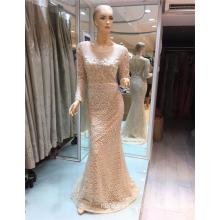 Suzhou mangas largas malla de encaje de lujo elegante Appliqued 2017 sirena vestidos de noche